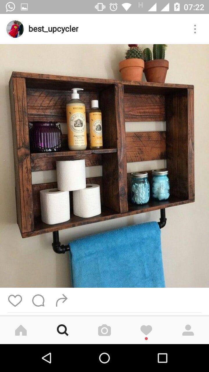 Rustic bathroom decor Bathroom Shelf w Pipe