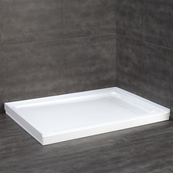 shop jacuzzi 32in w x 48in l white acrylic shower base at