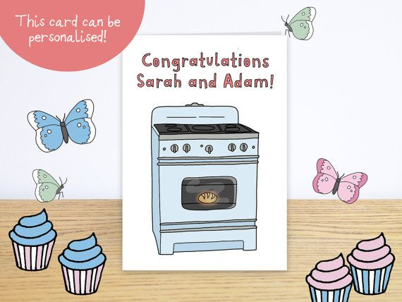 Personalised Bun in the Oven Card, Personalised Pregnancy Congratulations Card - Personalised Pregnancy Announcement Card - Baby Shower Card  #n0meo #naomidawson #nomeillustrations #nome #welcometotheworld #newbabycard #personalisedbabycard