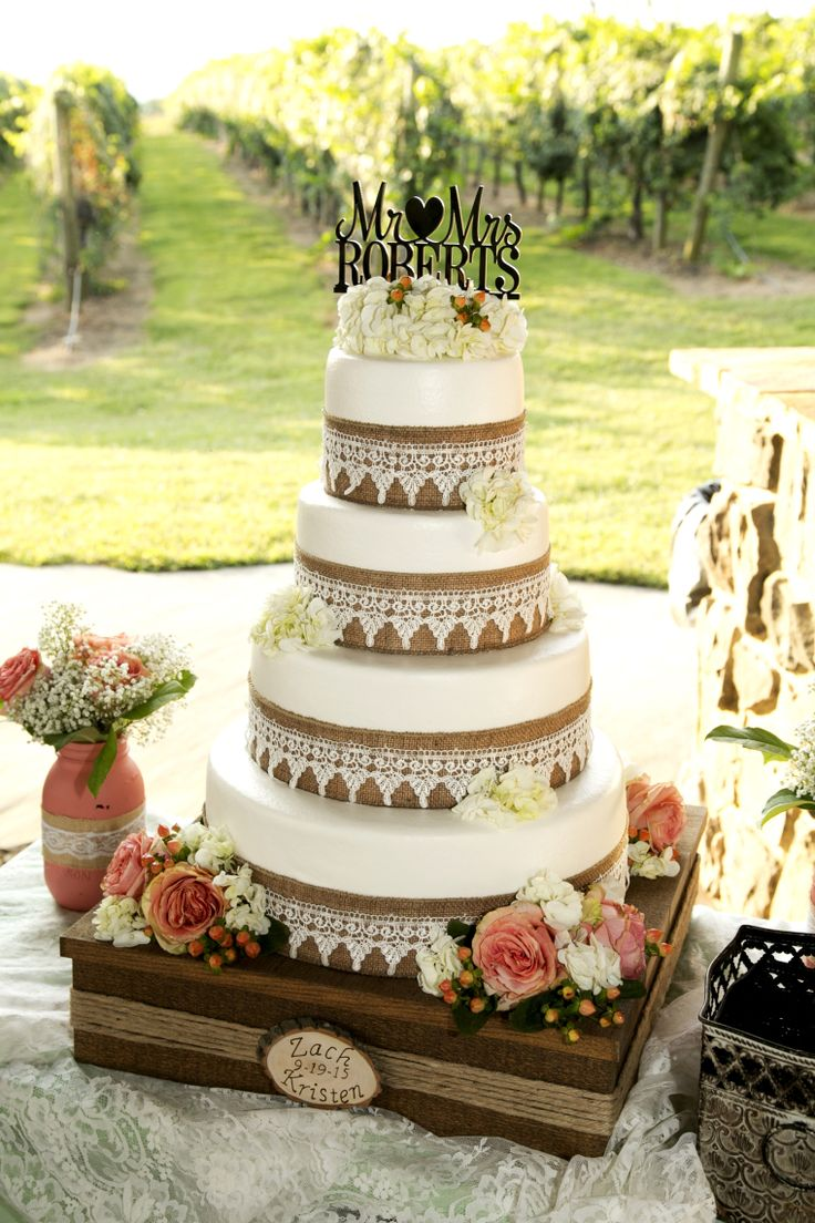 Wedding Cake with burlap, lace, and flower decorations