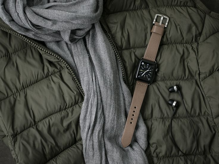 "Bas and Lokes ""Blair"" grey beige handcrafted leather watch strap paired with a handsome space grey Apple watch. Strap available at www.basandlokes.com"