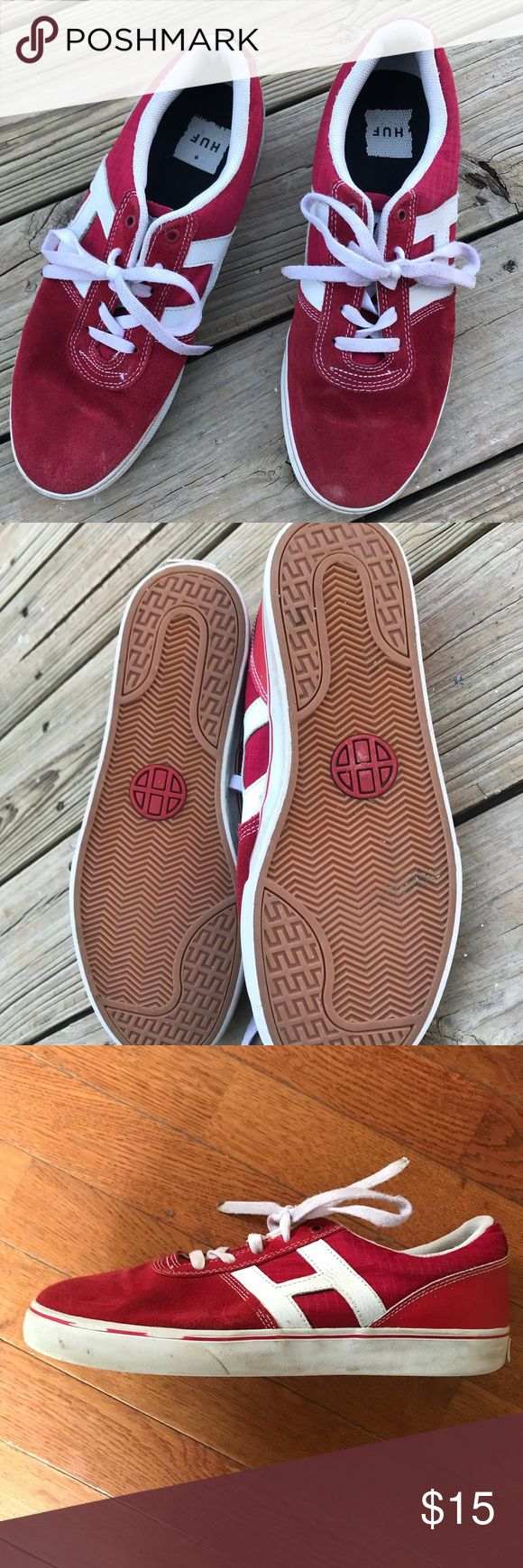 HUF Men's red skate shoes Worn but still have life. Suede skate shoes. Unskated in. HUF Shoes Sneakers