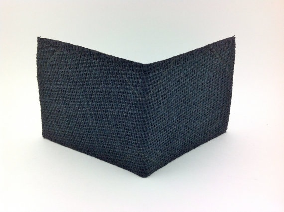 Black Vegan Wallet /  Mens Black Burlap Wallet /  by ApRi, $18.00