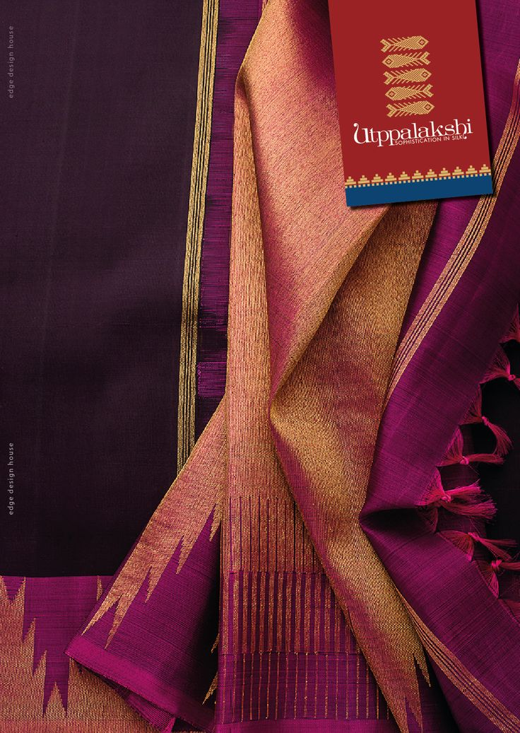 Deceptively simple silhouette is the hallmark of this saree with rustic temple border motifs. The brilliant colour scheme – wine colour on the body with bronze and violet on the pallu is thirst quenching in more ways than one. #Utppalakshi #Sareeoftheday#Silksaree#Kancheevaramsilksaree#Kanchipuramsilks #Ethinc#Indian #traditional #dress#wedding #silk #saree#craftsmanship #weaving#Chennai #boutique #vibrant#exquisit #pure #weddingsaree#sareedesign #colorful #elite