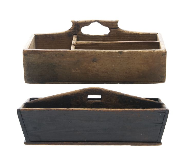 "19TH C. BOXES  Two 19th c. pine New England boxes: cant sided cutlery box in early dark painted finish, 15"" l; and a hanging dovetailed wall box in old finish, old patina, 15 1/2"" l."
