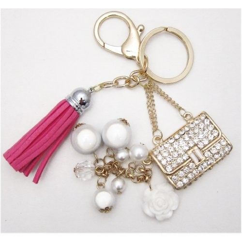 1 Pc Handmade Gold Bling Rhinestone Pearl Purse Keychain with Lobster Clasp