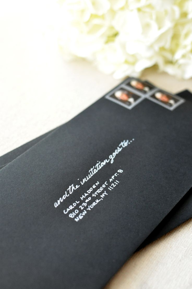 ELEGANT PARTY: Black Envelope with Silver Writing Invitations