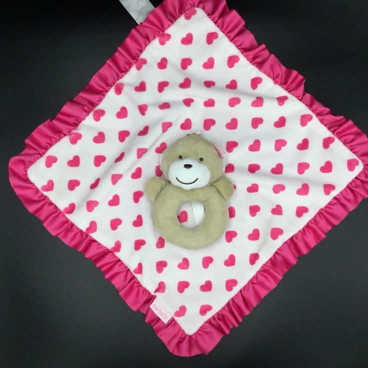 Carters Monkey Hearts Security Baby Blanket Lovey Rattle Tan Pink White  #Carters