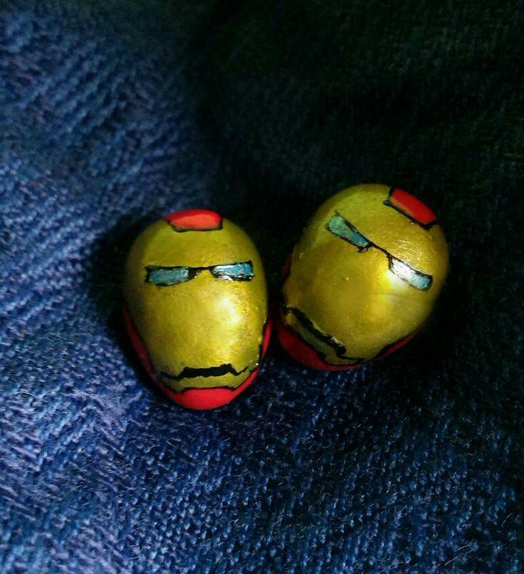 Iron Man earrings / Kolczyki Iron Man #handmade #earrings #kolczyki #IronMan