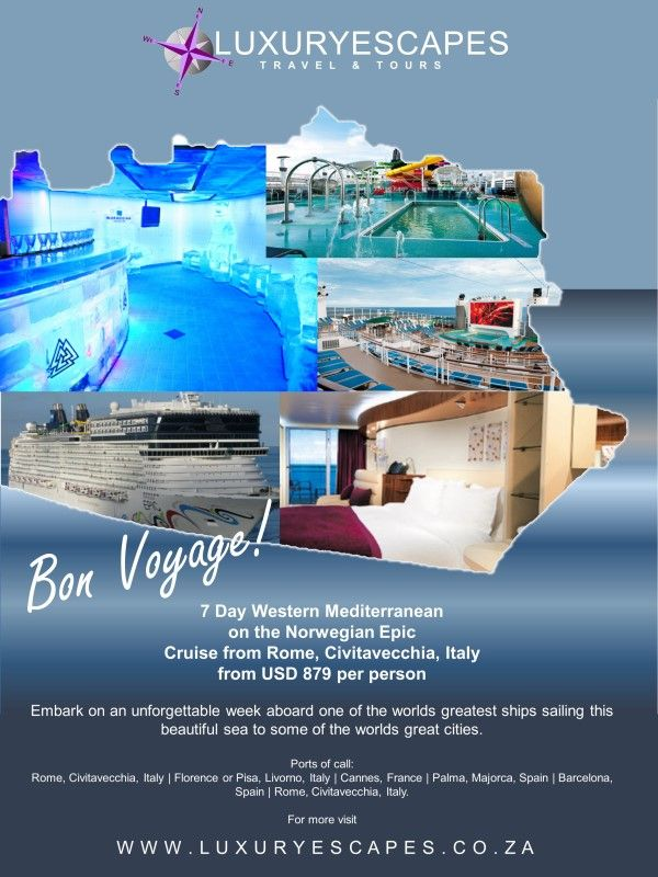 7 Day Western Mediterranean on the Norwegian Epic. Cruise from Rome, Civitavecchia, Italy from USD 879 per person. Embark on an unforgettable week aboard one of the worlds greatest ships sailing this beautiful sea to some of the worlds great cities. www.luxuryescapes.co.za