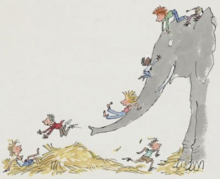 "'Sliding Down the Elephant' from the book ""All Join In"" by Quentin Blake"