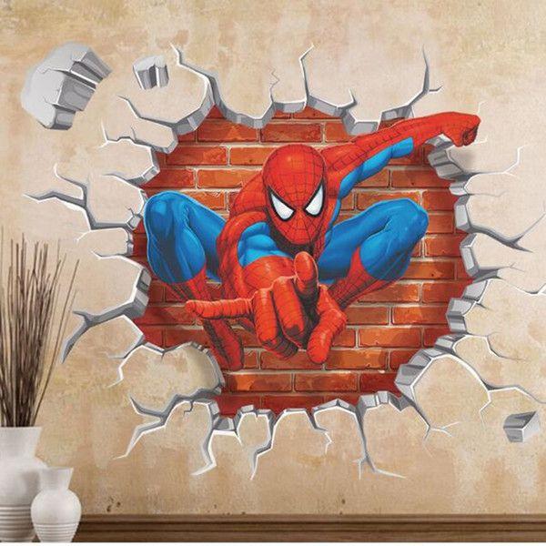 3d Effect Hero Spiderman Wall Stickers 70 54cm Cool Souq Spiderman Wall Art Wallpaper Childrens Room Wall Stickers Kids