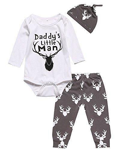 eebbf1b3c14 Newborn Infant Baby boys Long Sleeve Bodysuit Romper deer Pants Hat Outfits  06M