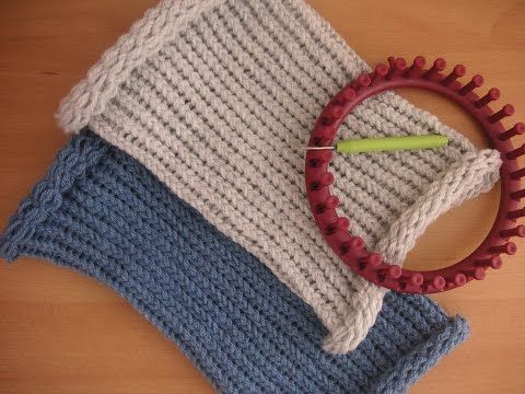 Tutorial facile scaldacollo berretto punto inglese con telaietto circolare per lana - Knitting Loom - YouTube