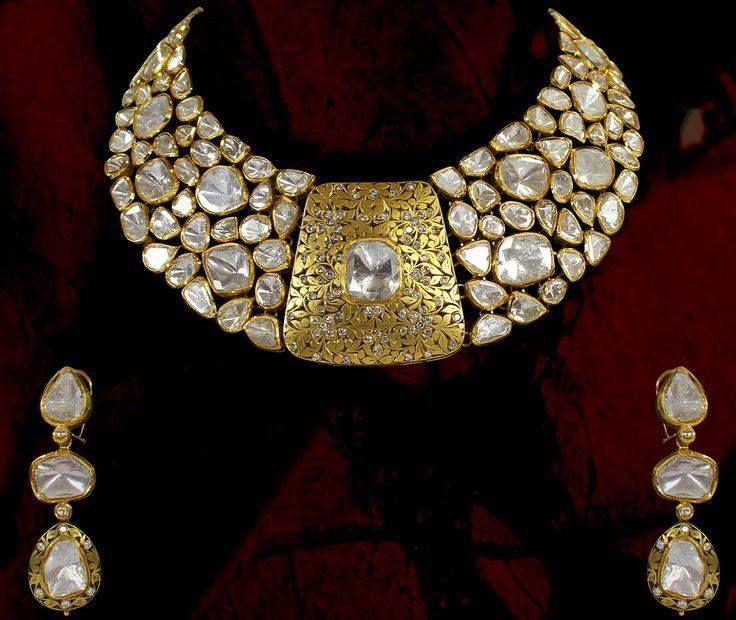 Diamond Polki Jewellery    Traditional   Indian   Bridal   Wedding   Kundan Meena   Jadau   Hallmarked   Gold   Enamel Zevaremporium   Zevar   emporium   22ct Gold