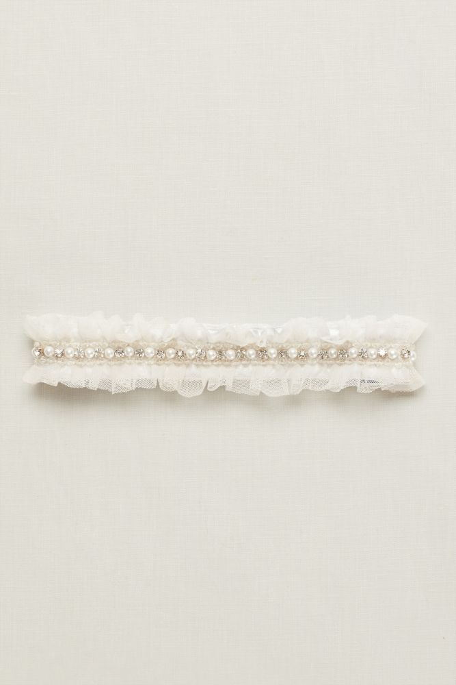 Ginger Pearl Garter with Ruffled Organza - Ivory