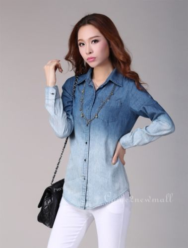 [Necklace with denim shirt] Women Casual Loose Washed Gradient Cotton Jeans Denim Shirt Blouse Tops Shirts | eBay