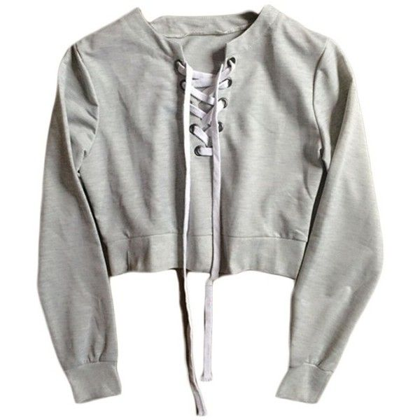 Grey Cross Lace Crop Sweater found on Polyvore featuring tops, sweaters, shirts, crop top, crop shirts, shirt sweater, gray shirt, gray crop top and gray sweater