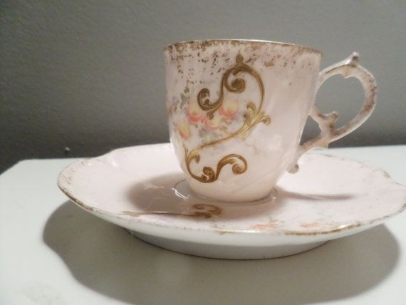 Gold Gilt Demitasse Tea Cup and Saucer Limoges by PelCollectibles