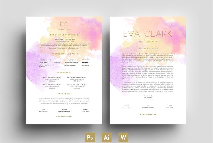 Purpele/Water Color/CV/Template by Emily's ART Boutique on @creativemarket