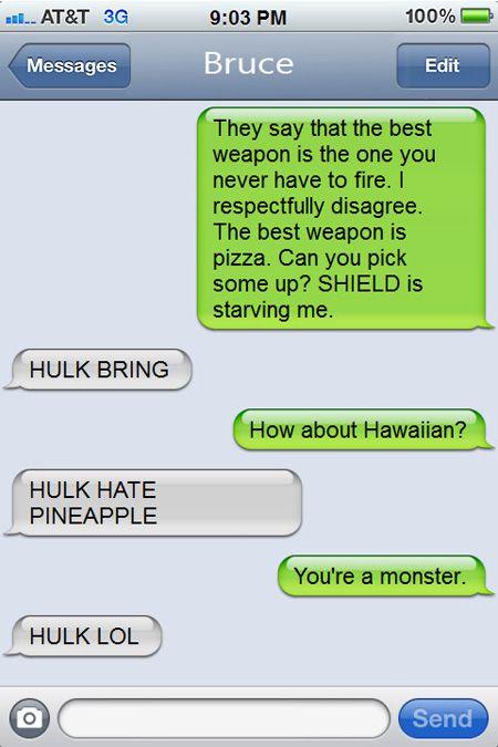 Texts From (Movie Characters) Last Night: Iron Man (Tony Stark) & Hulk (Bruce Banner)