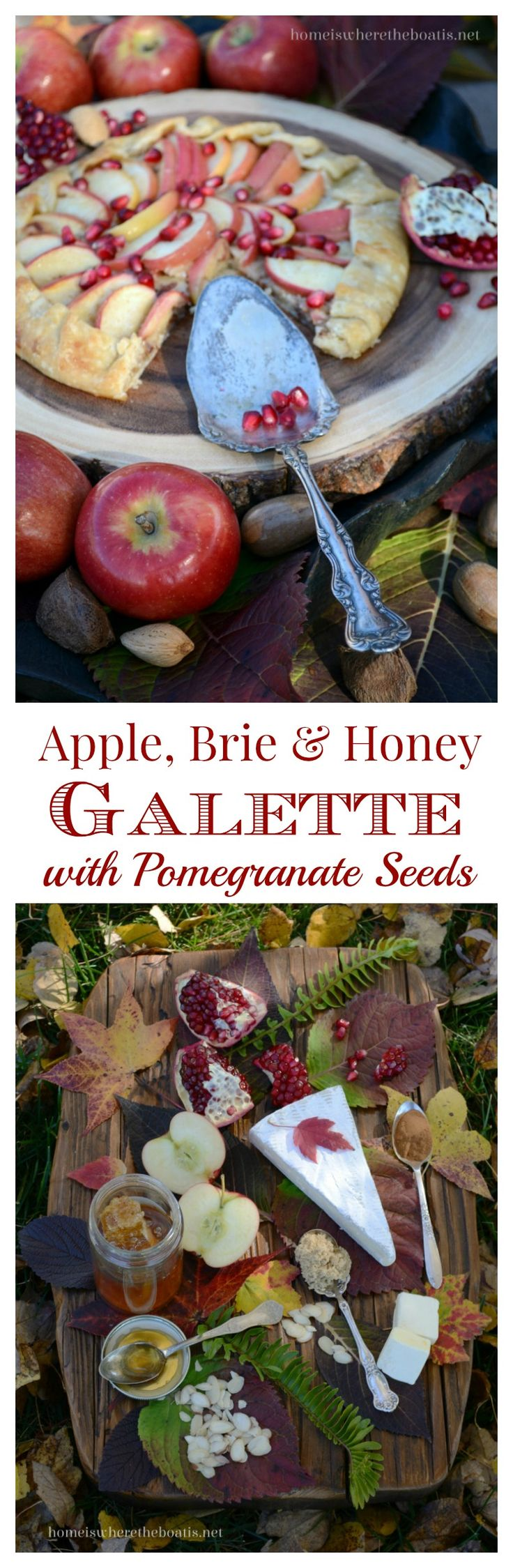 Apple, Brie & Honey Galette with  Pomegranate Seeds | homeiswheretheboatis.net