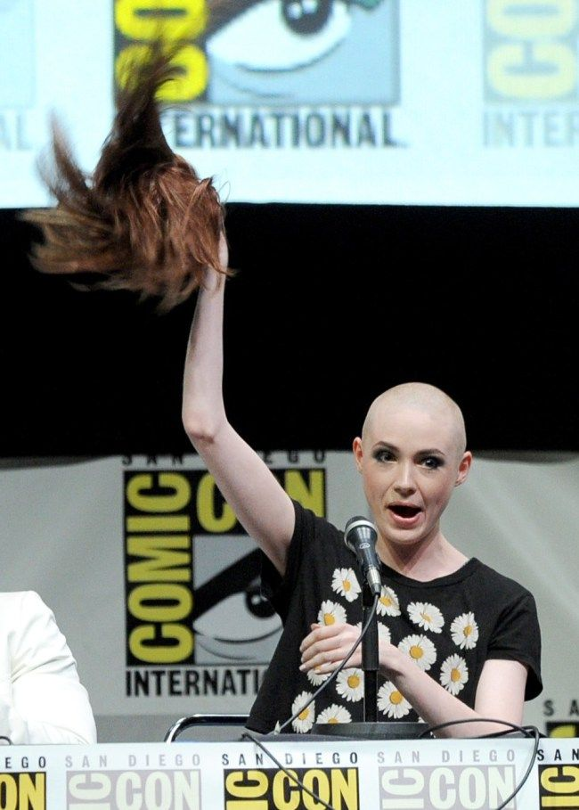Karen Gillan shaved her head for Guardians of the Galaxy.  still looks fabulous!