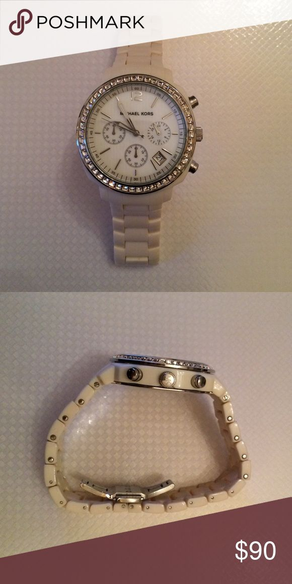 Authentic Michael Kors watch White Michael Kors watch with jeweled face. Just needs new battery. Michael Kors Accessories Watches