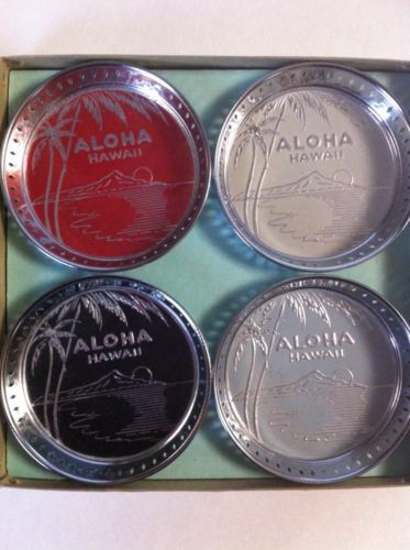 Set Of 8 Vintage Hawaii Hawaiian Island Coasters W Glass Insert