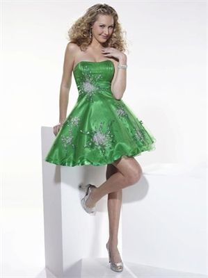 Strapless Beaded Layered Green Short Prom Dress PD0248 www.tidebridaldresses.com $123.0000