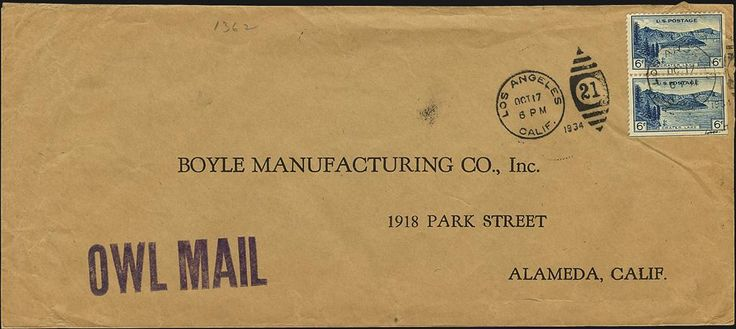 """What do you know about """"Owl Mail""""? http://www.linns.com/en/insights/us-stamps-and-postal-history/2015/08/what-is-the-meaning-of-the--owl-mail--handstamp-on-this-cover-.html…"""