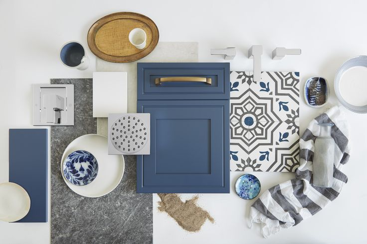 What Is Mediterranean Style Blue Cabinetry This Indigo Color Is Right On Trend Not Too Dark Not Wall And Floor Tiles Shower Heads Kitchen Cabinet Styles