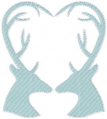 Machine Embroidery Design - Deer Heart Comes in 3 sizes 4 x 4 5 x 7, 7 x 9 You MUST have an embroidery machine and the software needed to transfer it from your computer to the machine to use this file