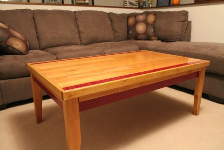 Coffee Table made from U of M basketball floor