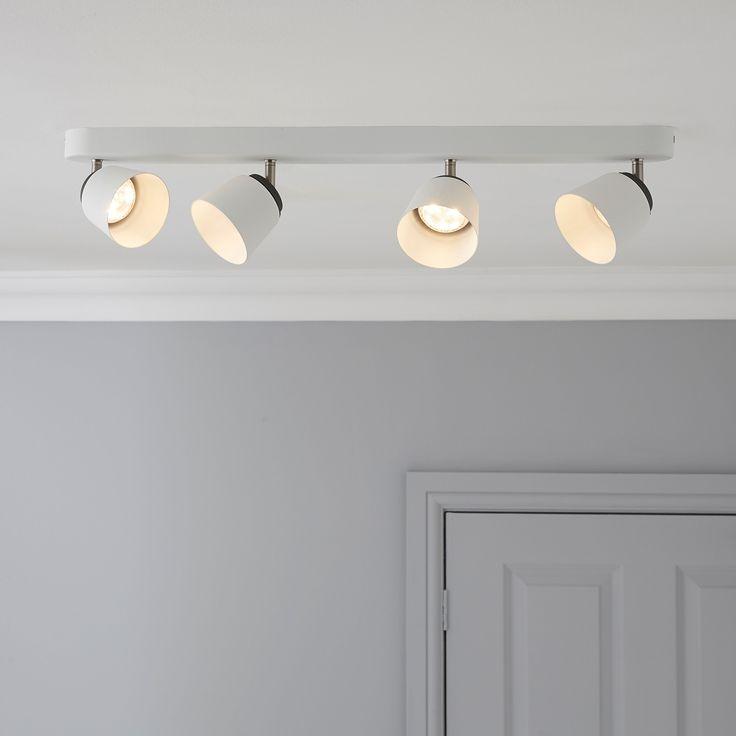 Dender County White 4 Lamp Ceiling Spotlight Bar | Departments | DIY at B&Q