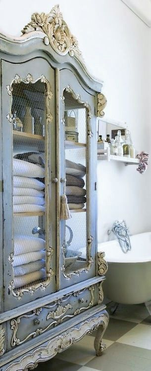 Blue and white paint wardrobe