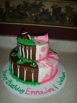 football and cheerleading - buttercream with fondant accents