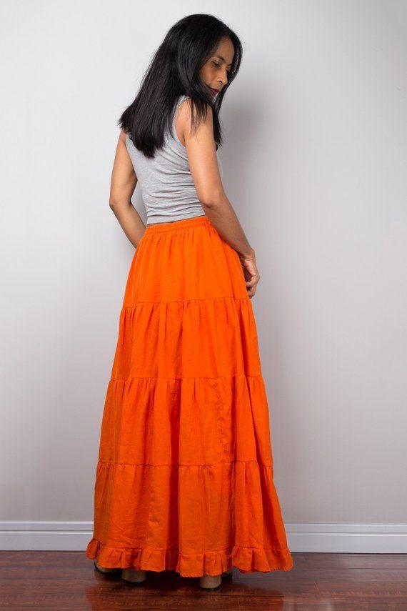 0e134cb042 Tiered orange peasant maxi skirt | Long boho orange cotton flare ...