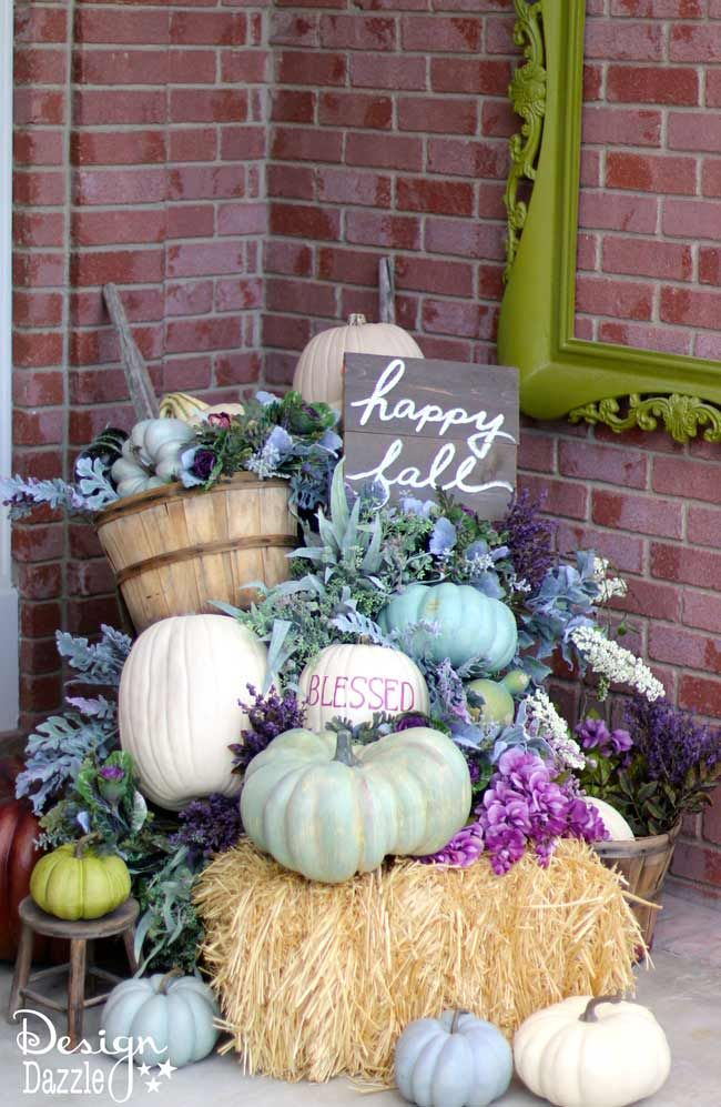 Fall pumpkin porch decor in plums, purples, blues and greens! Not the typical…