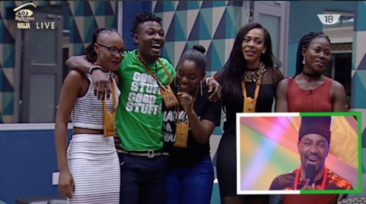 """These are the Top 5 housemates at the Big Brother Naija reality show!  Relate this to the Top 5 of #BBNaija What Club is your favorite Housemate? #EPL pic.twitter.com/YpoWYXuan7 — #TeamEfe (@MrLegit9ja) April 3, 2017   """"You guys have come this far, you are the Top 5 of BBNaija.   ##BBnaija #Big Brother Naija"""