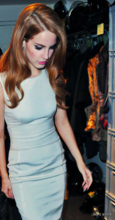 Lana Del Rey, sheath pale blue dress... love her and that dress.