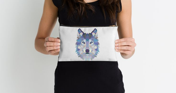 Game Of Thrones Polygonal Dire Wolf | RedBubble White Studio Pouch Held by Lady with Black TShirt @redbubble