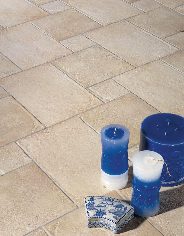 grès cérame pierre blanc antidérapant 450 mm x 450 mm (1540617) - LEONARDO CERAMICA - CARRELAGE EXTERIEUR ET TERRASSE - Décocéram, spécialiste du carrelage et de la décoration