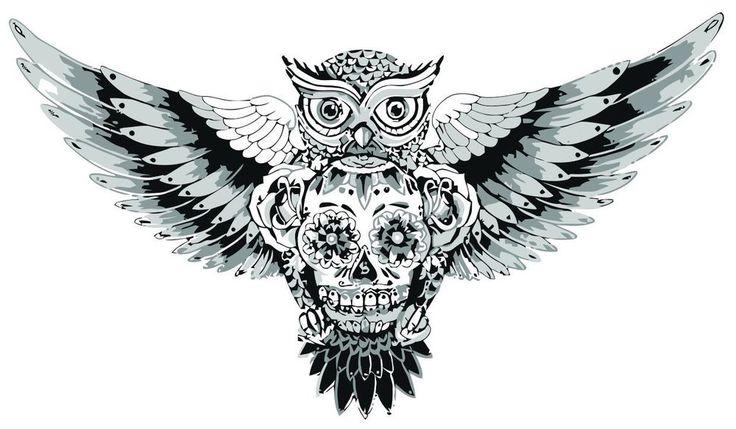 Sticker Sugar Skull Owl Day of the dead Goth Tattoo Flower Punk Emo Bird Gothic
