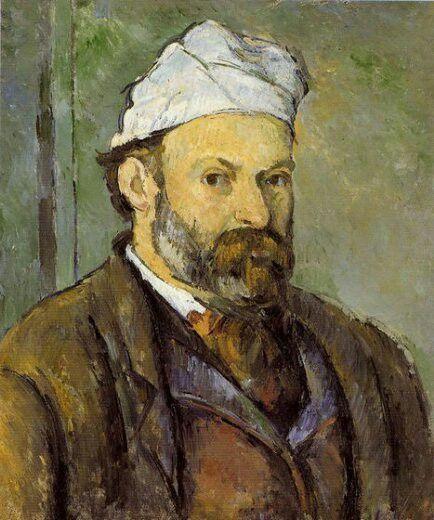 Paul Cezanne, 1882, Zelfportret met witte tulband, Neue Pinakothek München. Cezanne was een Post-Impressionistisch schilder die wordt gezien als belangrijk grondlegger van de moderne kunst. Door zijn stijl waarin hij vormen steeds meer ging simplificeren vormde hij als eerste schilder een brug tussen het Impressionisme en het latere Kubisme. Ook was hij een groot inspirator voor schilders als Matisse en Picasso. Post-Impressionisme.