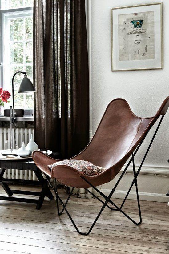 fauteuil en cuir vintage bohème