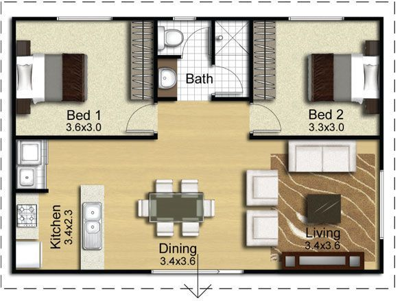 Converting A Double Garage Into A Granny Flat Google Search Small Apartment Floor Plans Apartment Floor Plans Small House Plans