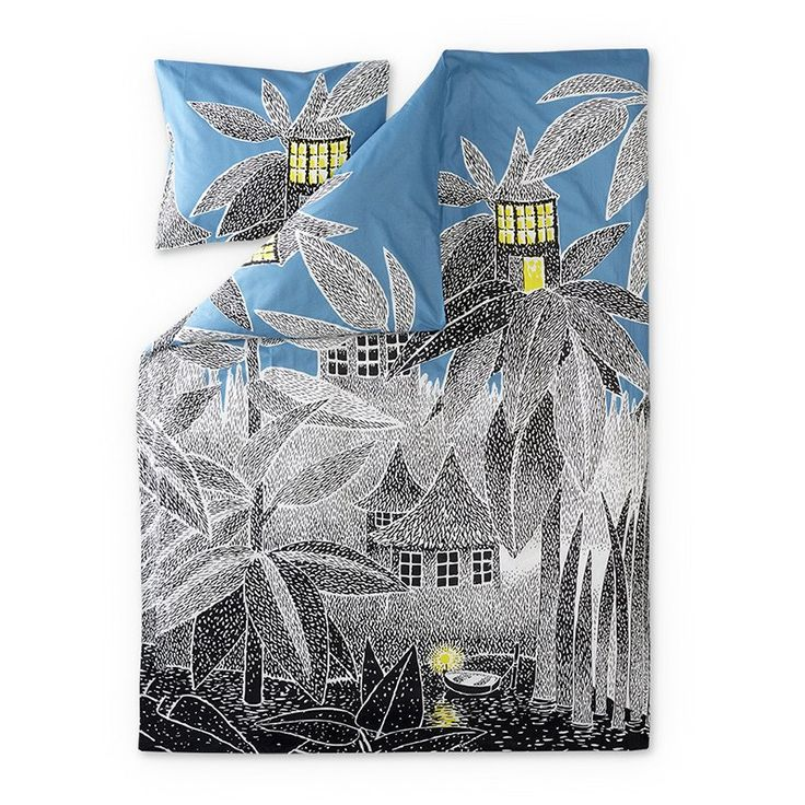 New House of Toffle duvet cover set by Finlayson presents Toffle's house in a stylish grey-blue colours. Delightful details make this bed linen set a truly beautiful addition to your bedroom. The Finlayson fabric is 100% cotton.Size: Duvet cover 150 x 210 cm