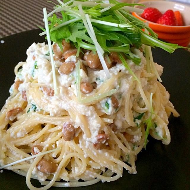 豆腐&納豆の豆豆パスタ(*ˊૢᵕˋૢ*)590kcal