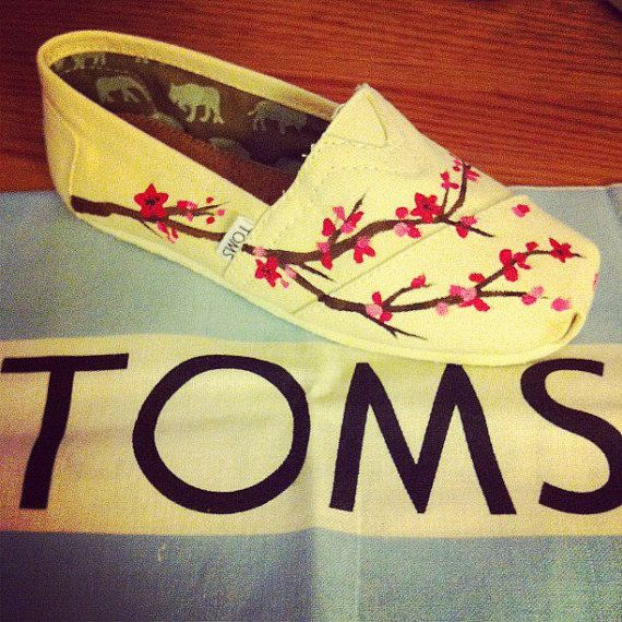 Custom Painted TOMS Shoes by specklesofpaint on Etsy, $90.00